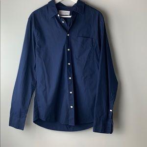Everlane men's navy blue button down shirt medium
